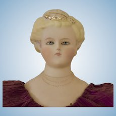 Beautiful Artist's Parian Bisque Doll with Gold Luster Trim