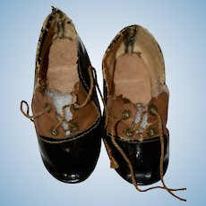 Vintage Black and Brown Shoes for Antique Bisque Doll