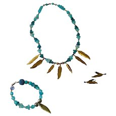 Teal & Aqua Feather Design Beaded Set, Necklace, Bracelet & Earrings