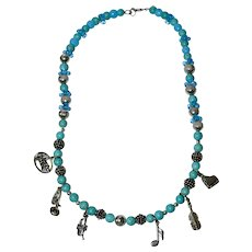 """Musical Charm Beaded Necklace, Turquoise Blue & Silver, 18"""""""