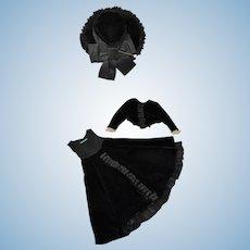 """Black Velvet Dress, Hat & Jacket for 14"""" doll"""