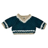 Hand Knit Green Sweater with V Neck
