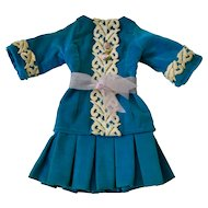 Teal Velvet Dress for Bebe, Vintage Artist Made