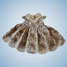 Pewter Color Satin Dress with Ribbon Rosettes