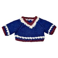 Navy Blue Sweater with Cranberry and White, Hand-Knit