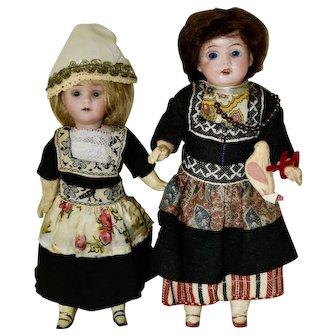Pair of German Bisque Head Dolls in Dutch Regional Costume