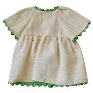 White Dress with Green Rick Rack Trim