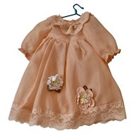 Peach Voile Dress with Flowers and Lace