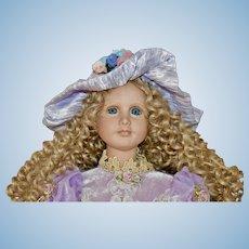 "Lovely 22"" Porcelain Art Doll C 1990 by Jane Ziajura"