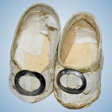 Small Antique White Shoes with Buckles