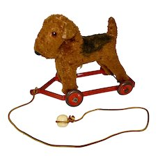 Cute Chiltern Dog Vintage Pull Toy with Tag