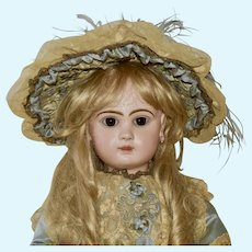 """Stunning 27"""" Depose Jumeau with Closed Mouth, Blue Silk Outfit"""