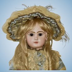 "Stunning 27"" Depose Jumeau with Closed Mouth, Blue Silk Outfit"