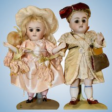 Adorable Pair of All Bisque Kestner Dolls, Boy and Girl