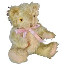 "9"" Fluffy Yellow Knickerbocher Bear C 1920s or 30s"