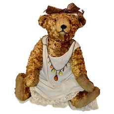 Pretty French Silk Bear in Vintage Beads and Gown