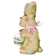 20s Yellow Mohair Bunny with Pink Eyes & Basket