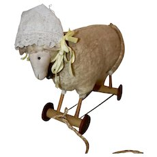 Vintage Lamb's Wool Sheep Pull Toy with Wooden Wheels