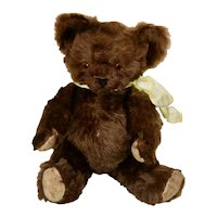 Dark Chocolate Brown Knickerbocher Bear, C 1930s