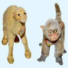 Steiff Camel and Monkey with Chest Tags