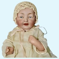 """Adorable 16"""" Solid Dome Kestner Baby with Intaglio Blue Eyes"""