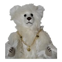 Marshmellow, White Mohair Artist Bear with Boot Button Eyes