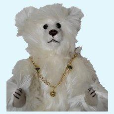 Marshmellow, White Mohair Artist Bear with Boot Button Eyes