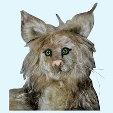 Frazzle Cat, Mohair Artist Cat w/ Long Mohair, Green Eyes