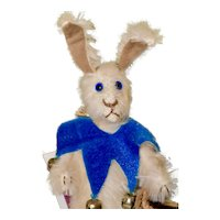 "Peter, 6"" White Mohair Artist Bunny Rabbit with Blue Eyes"