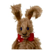 Orville, Brown Mohair Artist Rabbit with Blue Eyes