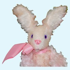 "Cotton Candy, 11"" Mohair Artist Rabbit with Pink Eyes"