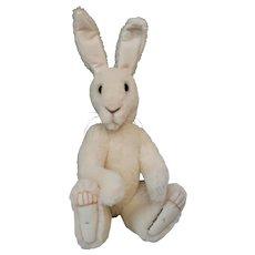 Sammy Snowshoe, White Alpaca Artist Rabbit, Life-size