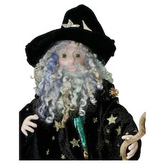 Hocus Pocus, Artist Wizard Doll with Green Eyes