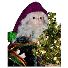Artist Santa, Little Nick, with Mini artist bears & Lighted Tree