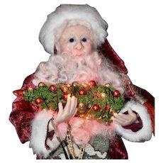 Artist Made Nutcracker Santa w/ Lit Tree & Nutcrackers