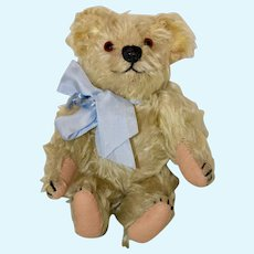 """Adorable 9"""" Blonde Mohair Bear, C 20s or 30s"""