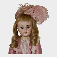 "Pretty 17.5"" Tete Jumeau DEP in Pink Silk"