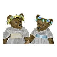 "Sisters Merri & Mae, OOAK Mohair Art Bears, 16"" Tall"