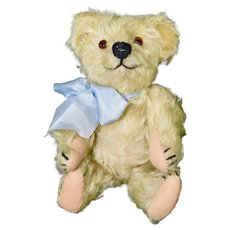 "Adorable 10"" Blonde Early Mohair Bear, Straw Stuffed"