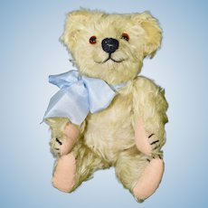 """Adorable 10"""" Blonde Early Mohair Bear, Straw Stuffed"""