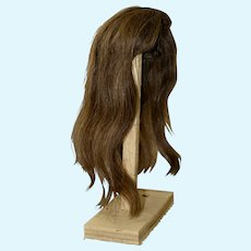 """Vintage Long Brunette Human Hair Wig for 18"""" Tall Doll"""