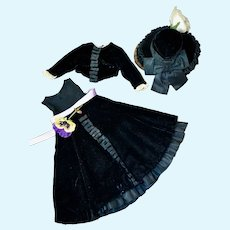 """Beautiful Black Velvet and Taffeta dress, Jacket and Hat for 14-15"""" doll"""