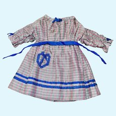 "Vintage Handmade silk plaid dress for 8-10"" Doll"