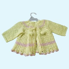 "Pink and Yellow Crocheted Baby Sweater for Life Size Doll (22-26"")"