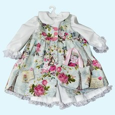 "Rose Print Pinafore w/ Blouse and Skirt for an 18"" Child Doll"