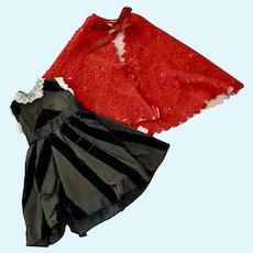 Antique Hand Sewn Black Taffeta Dress with Cape
