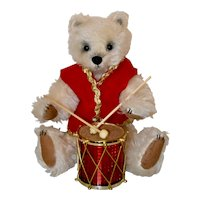 "Sugar, ""Little Drummer Bear"", White Mohair 12"" Artist Bear, OOAK"