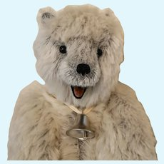 ICE, Grey-White Mohair Artist Polar Bear w/Open Mouth & Tongue