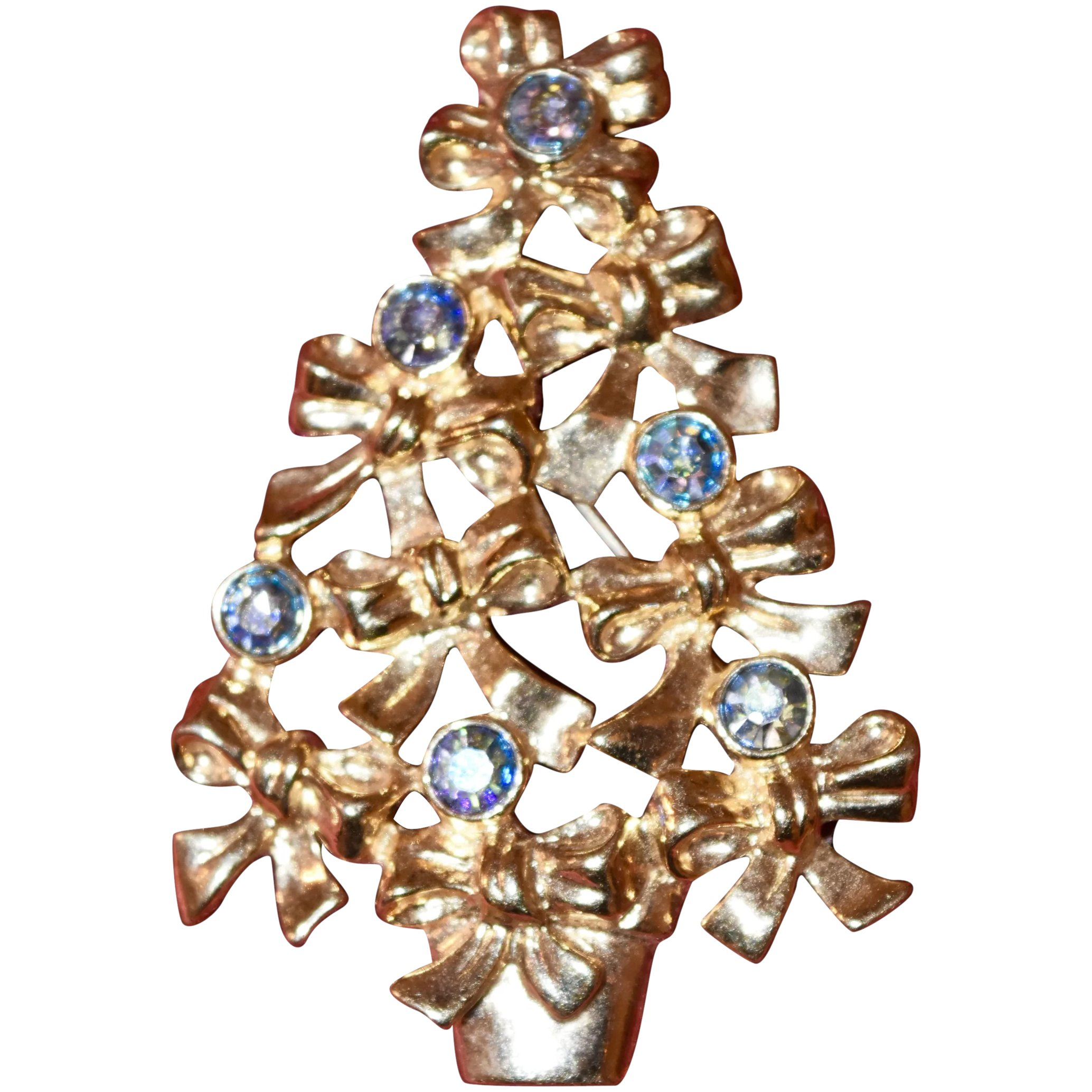 Pretty Goldtone Christmas Tree With Irridescent Blue Stones Avon The Trinckes Collection Ruby Lane