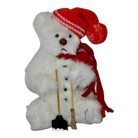 "Snow Bear, 13"" Jointed One of a Kind Art Bear"